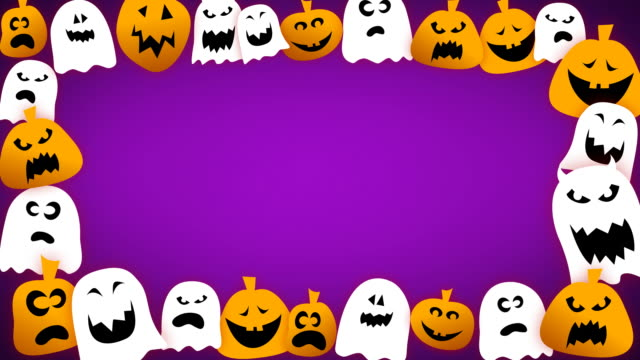 loopable halloween border - jack o' lantern stock videos and b-roll footage