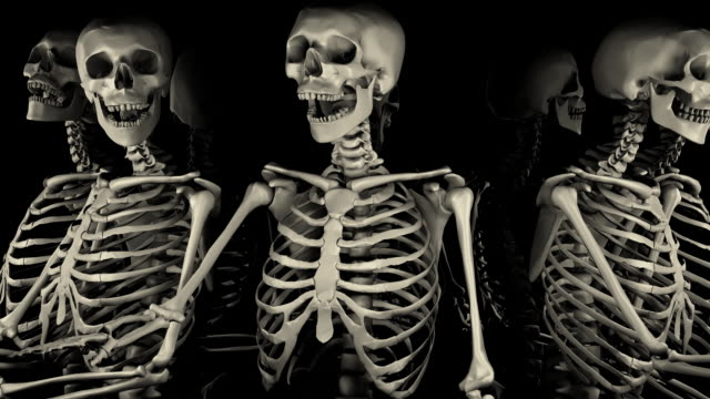 loopable, halloween, close-up of spinning skeletons - genocide stock videos & royalty-free footage