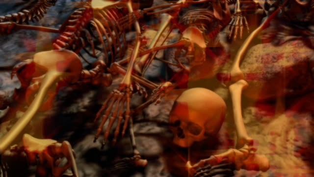 Loopable, Halloween, Dolly over a field of Skeletons