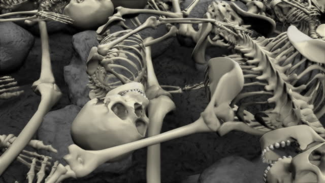 loopable, halloween, field of humans skeletons - human skeleton stock videos and b-roll footage