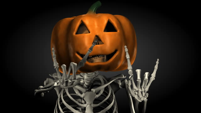 Loopable, Halloween, Skeleton with Pumpkin Head