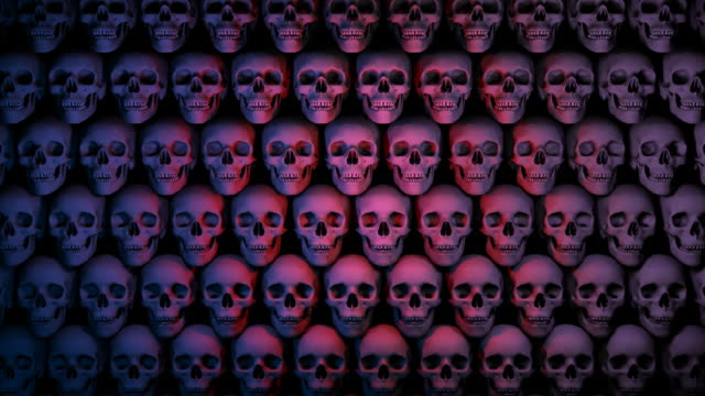 loopable, halloween, wall of skulls scrolling - genocide stock videos & royalty-free footage