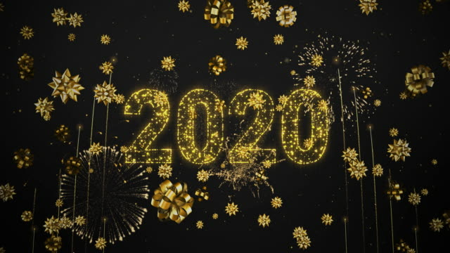 4k - loopable - happy new year 2020 greeting - golden firework & crackers - explosive material stock videos & royalty-free footage