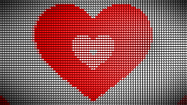 loopable heart on led wall - video wall stock videos & royalty-free footage