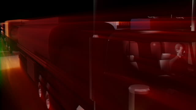 Loopable, Heavy Traffic, Trucks on Highway, 3D