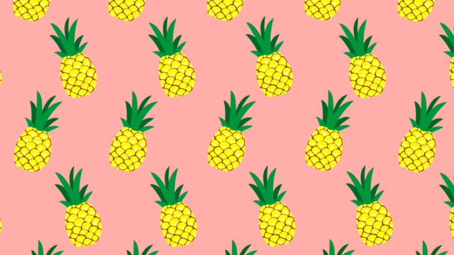 loopable illustrated pineapple animation, pink background - pineapple stock videos & royalty-free footage