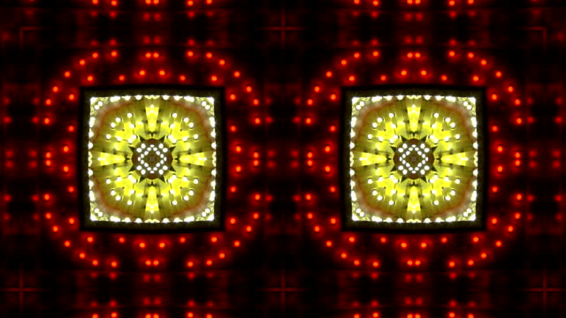 stockvideo's en b-roll-footage met loopable kaleidoscope red and white chasing lights frame - incandescent bulb