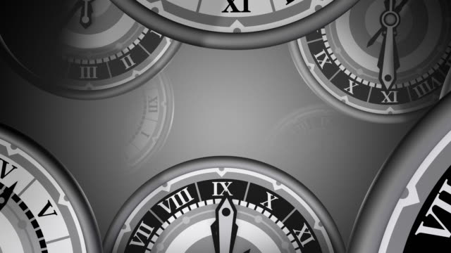 loopable, many clocks zooming by, time passing - romersk siffra bildbanksvideor och videomaterial från bakom kulisserna