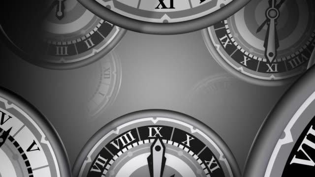 vídeos de stock e filmes b-roll de loopable, muitos relógios zoom de tempo que passa, - tempo