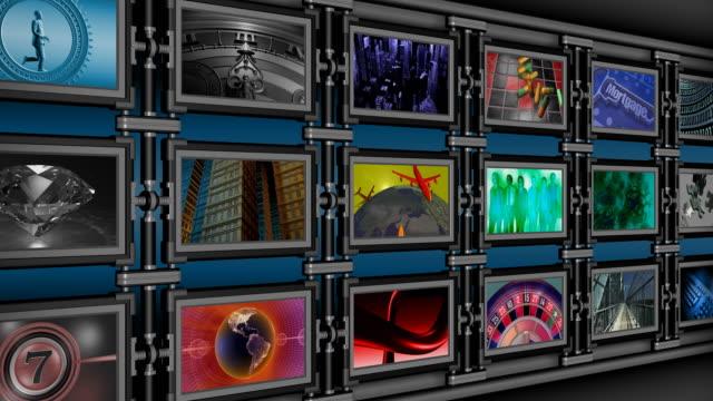 vídeos y material grabado en eventos de stock de en bucle, pared de multimedia, medio de información, la televisión, la radiodifusión, display - pantalla de proyección