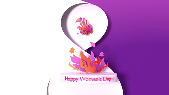 loopable number 8 with happy women's day text and paper craft flowers to celebrate 8 march international women's day in 4k resolution - number 8 stock videos & royalty-free footage