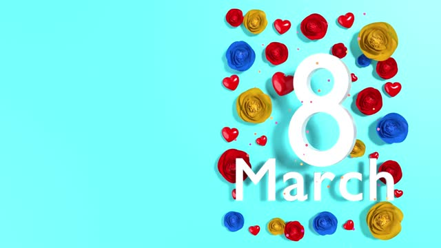 loopable number 8 with women' day text and flowers to celebrate 8 march international women's day in 4k resolution - number 8 stock videos & royalty-free footage