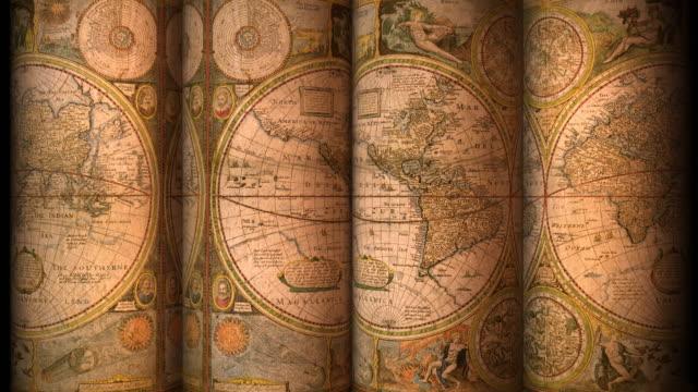 loopable, vecchia mappa del mondo - vecchio stile video stock e b–roll
