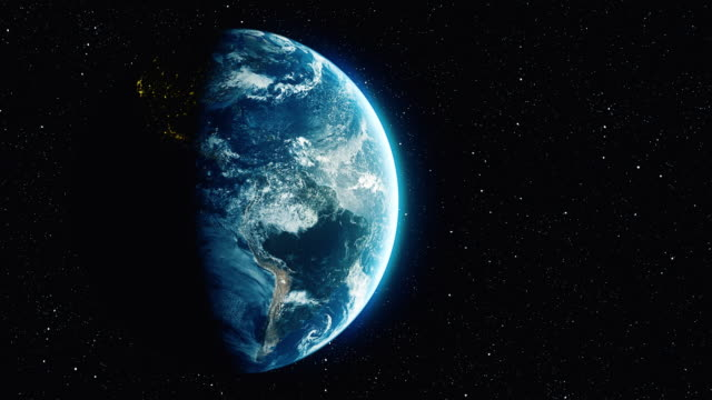 rotazione loopable planet earth con sfondo stellare - immagine in movimento in loop video stock e b–roll