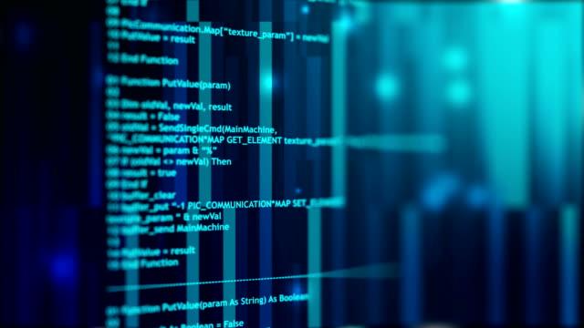 vídeos de stock e filmes b-roll de 4k loopable program code. blue and white. - linguagem informática
