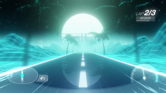 vídeos de stock e filmes b-roll de loopable racing game background in retrowave style - imagem em movimento