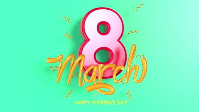 loopable red colored number 8 with text and confetties to celebrate 8 march international women's day in 4k resolution - number 8 stock videos & royalty-free footage