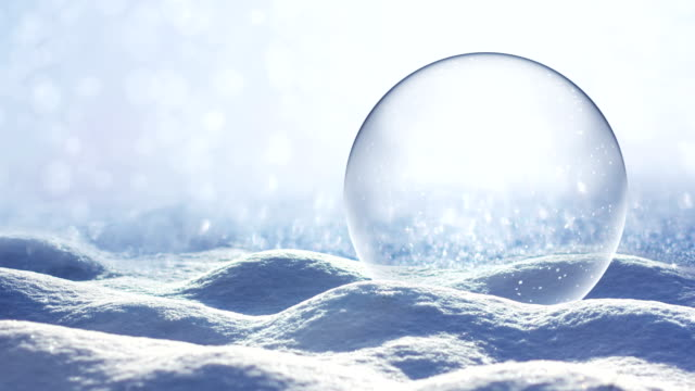loopable snow landscape - snow globe - greeting card stock videos & royalty-free footage