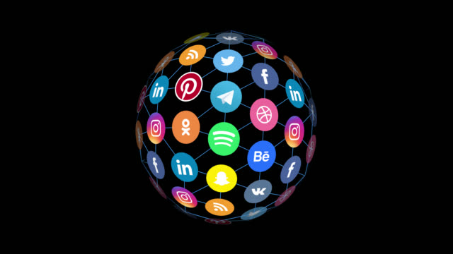 loopable social media icons on globe with alpha channel - social media icon stock videos & royalty-free footage
