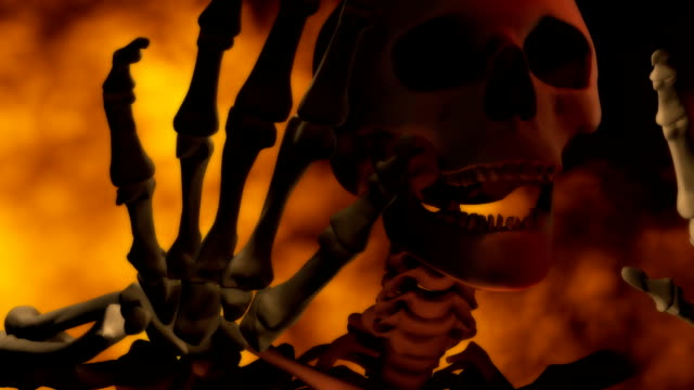 loopable, speaking, singing skeleton with fire for halloween - spokesman stock videos & royalty-free footage