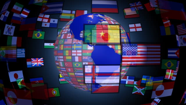 loopable, spinning earth with world flags - national flag stock videos & royalty-free footage