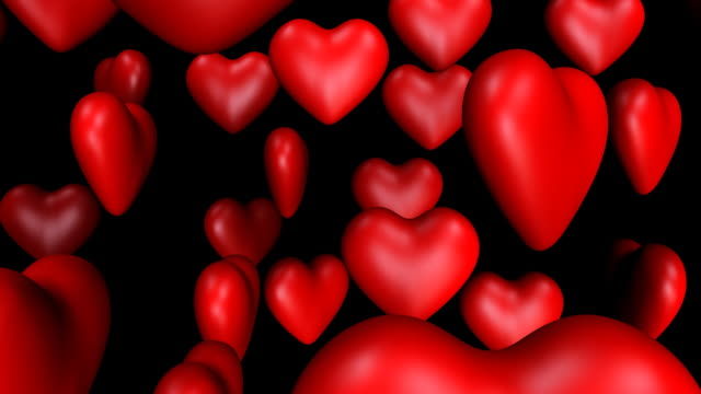 loopable, spinning hearts falling - group of objects stock videos & royalty-free footage