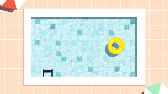 ループ可能なプールアニメーション - 浮き輪点の映像素材/bロール