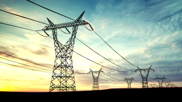 loopable transformers or power lines background - electricity pylon stock videos & royalty-free footage