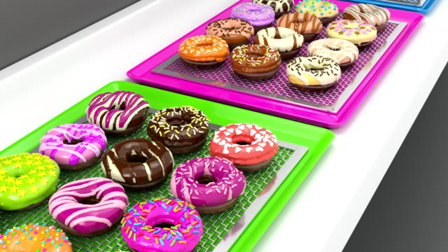 loopable trays of colorful doughnuts on conveyor belt (3d render) - donut stock videos and b-roll footage