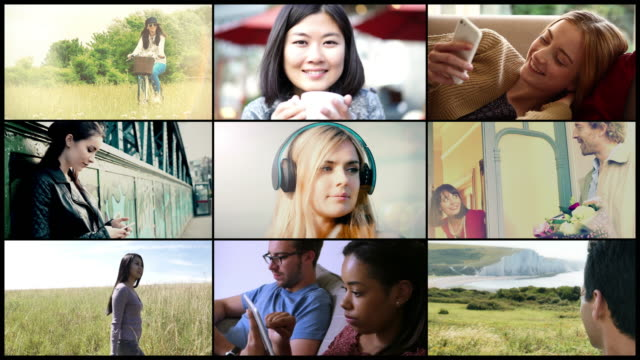 loopable video wall. happy diverse people. 1 - composite image stock videos & royalty-free footage