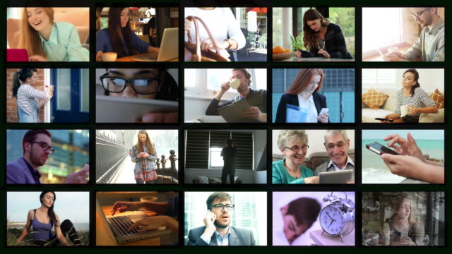 endlos wiederholbar videowand. lifestyle, emotionen und technologie. - filmcollage stock-videos und b-roll-filmmaterial