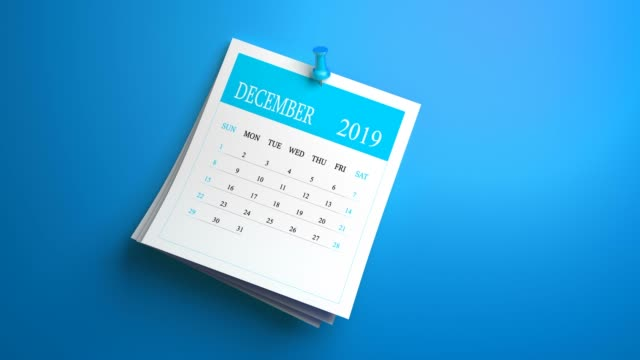 loopable waving december calendar 2019 on blue  background - 2019 stock videos & royalty-free footage