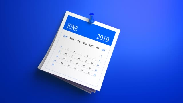 calendario di giugno 2019 a ciclo continuo su sfondo blu - week video stock e b–roll