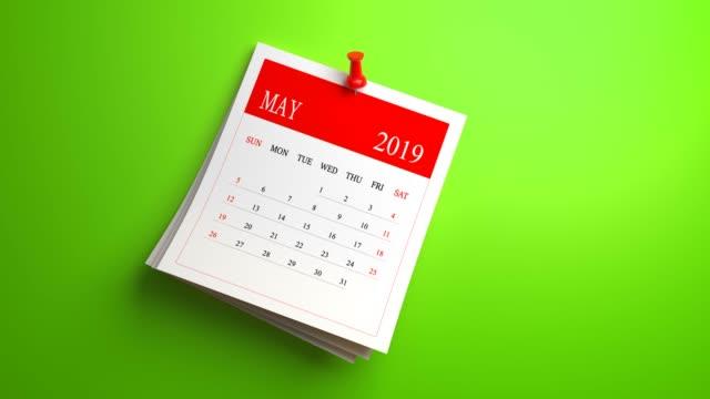 loopable waving may calendar 2019 - 2019 stock videos & royalty-free footage