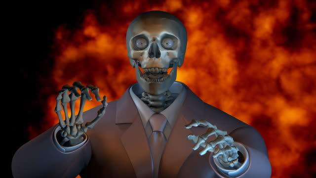 Loopable, Well dressed Halloween Spokeman, with Fire