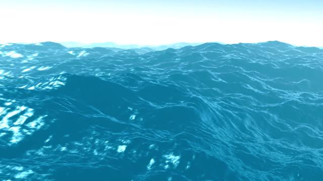 schlaufe animation von große blaue wellen vor dem sturm - biegung stock-videos und b-roll-filmmaterial