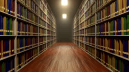 Looped move between university library shelves with lot of books on each shelf
