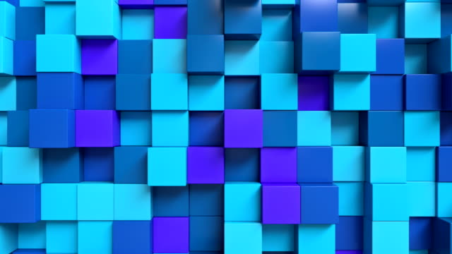 looping abstract cubes blue - block shape stock videos & royalty-free footage