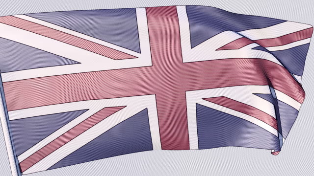 a looping, animated coloured engraving of the union jack - 18th century style stock videos & royalty-free footage