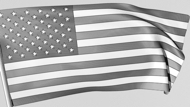 a looping, animated engraving of the stars and stripes - 18th century style stock videos & royalty-free footage