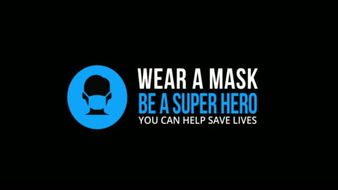 """looping animated icon & text """"wear a mask. be a superhero."""" on black background - prevention stock videos & royalty-free footage"""