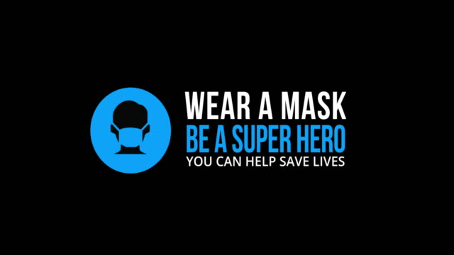 "looping animated icon & text ""wear a mask. be a superhero."" on black background - prevention stock videos & royalty-free footage"