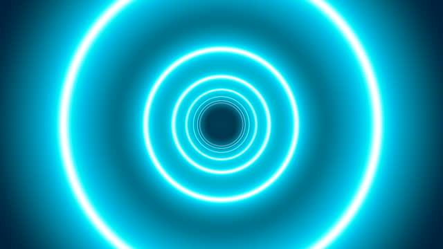 a looping animation of a neon tunnel on a blue background - hole stock videos & royalty-free footage