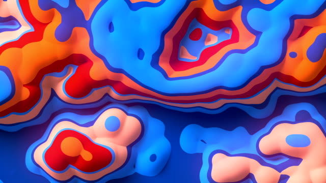 Looping animation of abstract colored fractal pattern background. 3d rendering