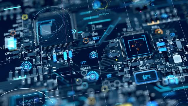 抽象的なマザーボード回路のループ アニメーションを 4 k - 中央演算処理装置点の映像素材/bロール