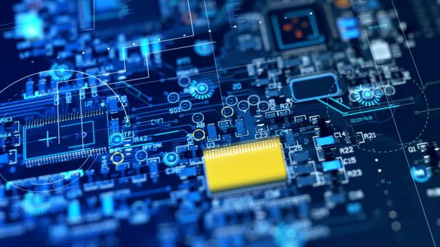vídeos de stock, filmes e b-roll de 4k loop de animação do circuito de motherboard abstrata - placa mãe