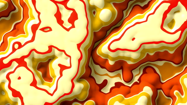 Looping animation of abstract red and orange colored fractal pattern. Modern motion graphics background. 3d rendering. 4K, Ultra HD resolution.
