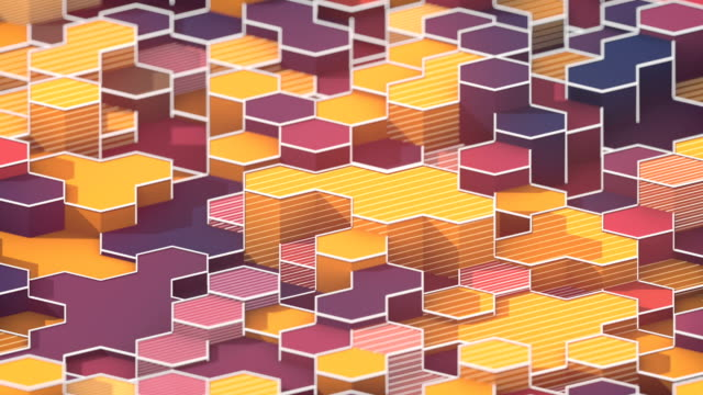 looping animation of hexagonal honeycomb pattern. modern colored forms with white wire on the edges. motion graphics background. 3d rendering. 4k, ultra hd resolution. - repetition stock videos & royalty-free footage