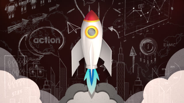 looping animation of rocket flying through a business plan - taking off stock videos & royalty-free footage
