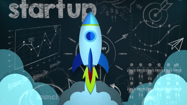 looping animation of rocket flying through a startup plan - launch event stock videos & royalty-free footage